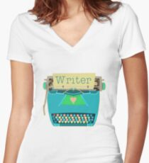 Retro Typewriter for Writers Mid-Century Modern Aqua Blue Women's Fitted V-Neck T-Shirt