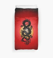 Black Chinese Dragon on Red Duvet Cover