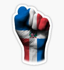 Flag of Dominican Republic on a Raised Clenched Fist  Sticker
