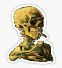 "Vincent Van Gogh - ""Skull of a Skeleton with Burning Cigarette"" Sticker"