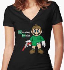 Breaking Bricks Women's Fitted V-Neck T-Shirt