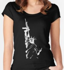 Statue of Liberty with m4a1 Women's Fitted Scoop T-Shirt