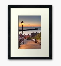 Whitby Steps - Orange Glow Framed Print