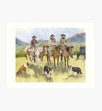 Cowboys Horses Border Collie Dogs Cathy Peek Art Print