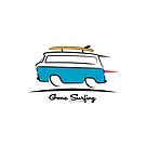 Chevrolet Corvair Greenbrier Blue Van Gone Surfing by Frank Schuster