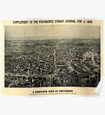 Panoramic Maps A bird's-eye view of Providence showing the new railroad station and State House Poster