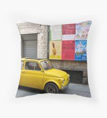yellow car Throw Pillow