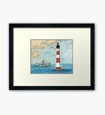 Morris Island Lighthouse SC Chart Map Cathy Peek Framed Print