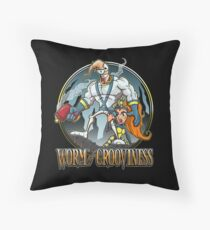 Worm of Grooviness Throw Pillow