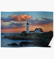 Portland Head Lighthouse - Pink Delight Poster