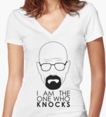 I Am The One Who Knocks Women's Fitted V-Neck T-Shirt