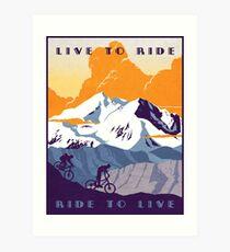 Live to Ride, Ride to Live Retro-Radsportplakat Kunstdruck
