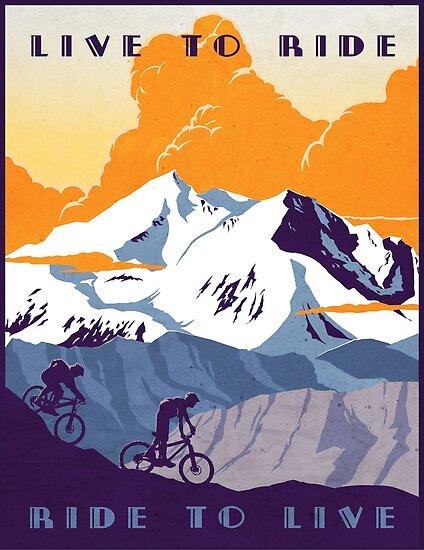 «Cartel de ciclismo retro Live to Ride, Ride to Live» de SFDesignstudio