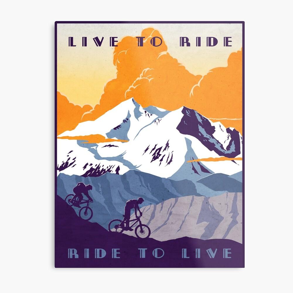 Cartel de ciclismo retro Live to Ride, Ride to Live Lienzo metálico
