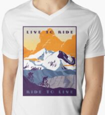 Live to Ride, Ride to Live retro cycling poster Men's V-Neck T-Shirt