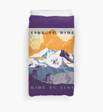 Live to Ride, Ride to Live retro cycling poster Duvet Cover