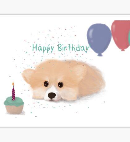 Happy Birthday Corgi Sticker