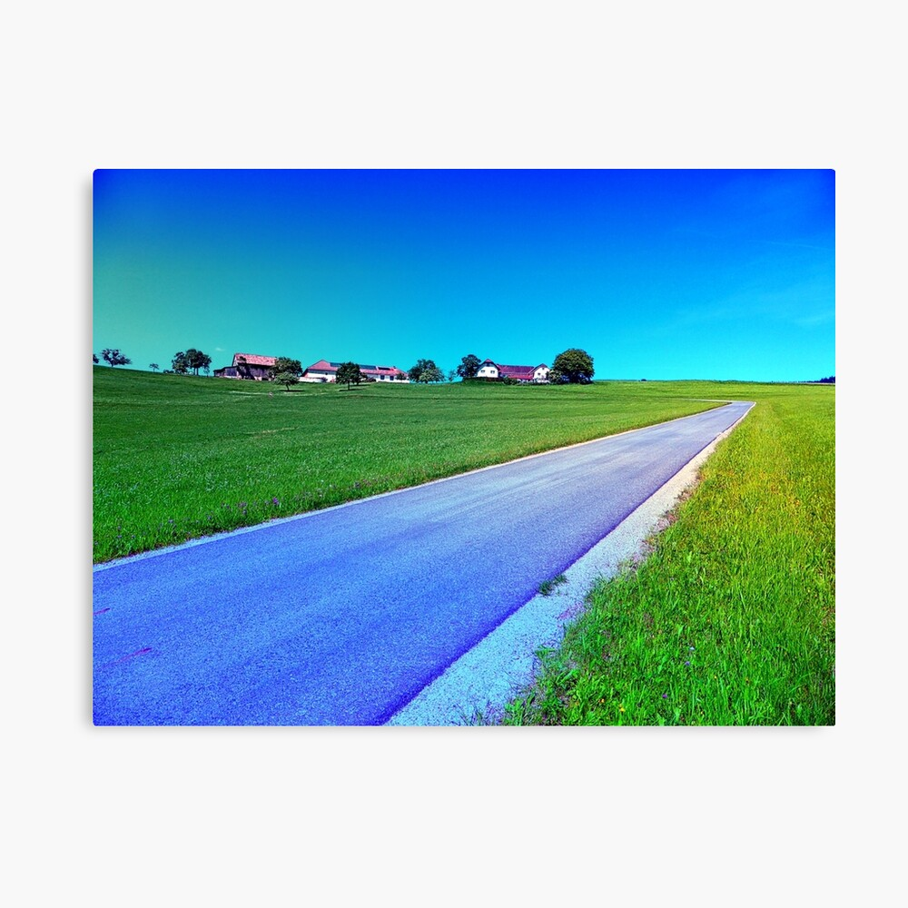 Small country road and a hill Canvas Print