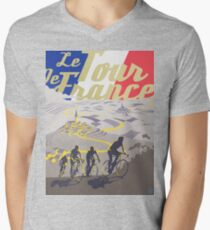 Camiseta para hombre de cuello en v Cartel retro de Le Tour de France
