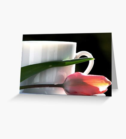 Demitasse and Tulips Greeting Card