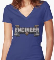 Minecraft Redstone Engineer Women's Fitted V-Neck T-Shirt