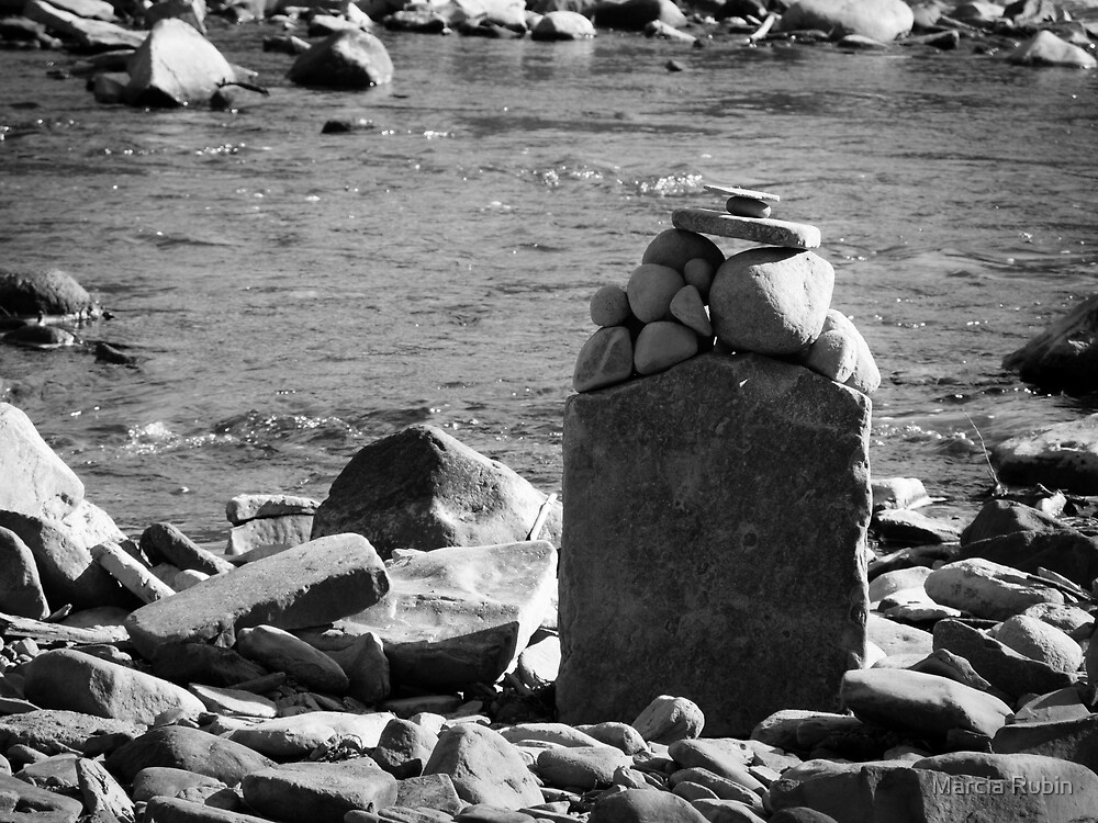 Rocks on the Rivers Edge  by Marcia Rubin