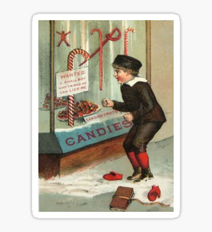 Wanted - A Boy To Lick Christmas Candy Cane Sticker