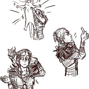 Dragon Age 2 Sketchy Anders Sticker Set by lutnik