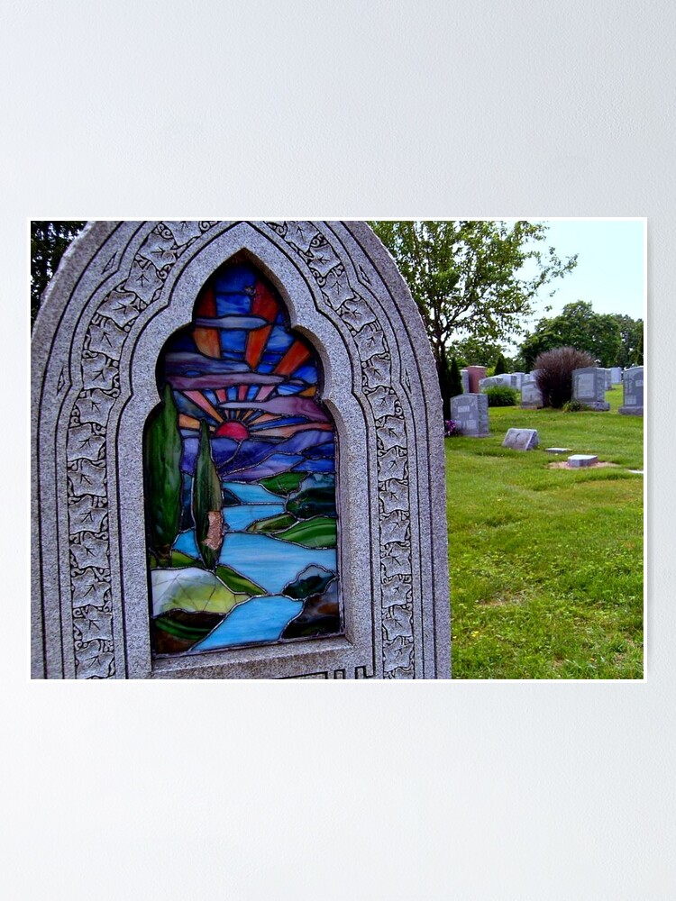 Quot Stained Glass Tombstone In Color Quot Poster By Amberwayne52