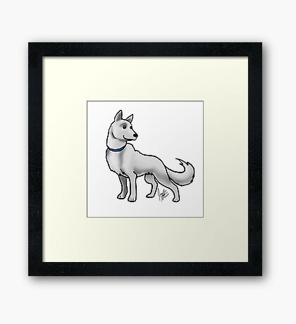 German Shepherd White Framed Print