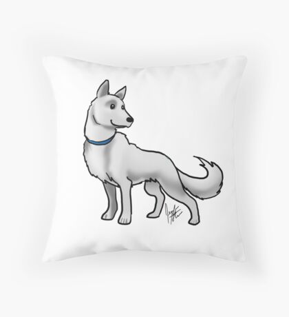 German Shepherd White Throw Pillow