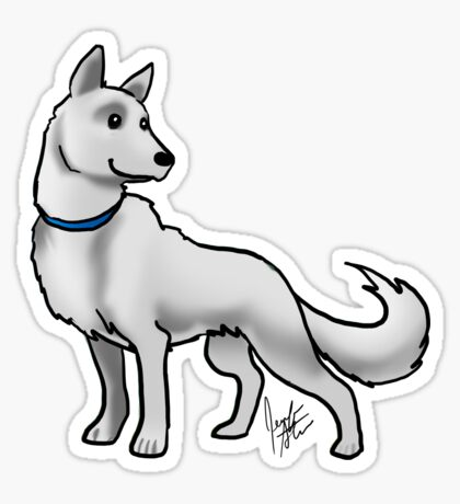 German Shepherd White Glossy Sticker