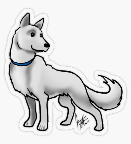 German Shepherd White Transparent Sticker