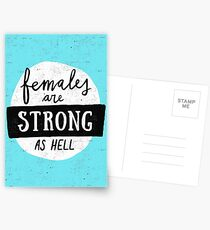 Females Are Strong As Hell | Blue Postcards