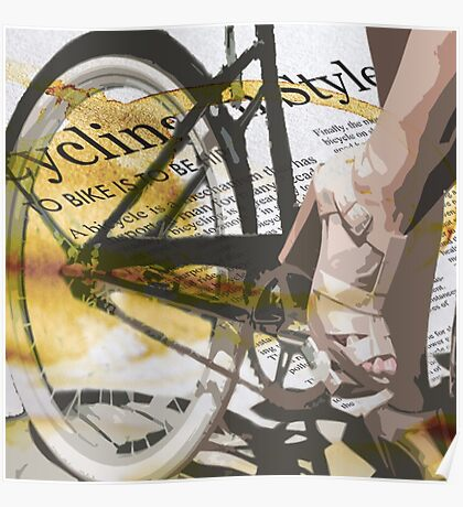 retro BICYCLE URBAN CHIC print Poster