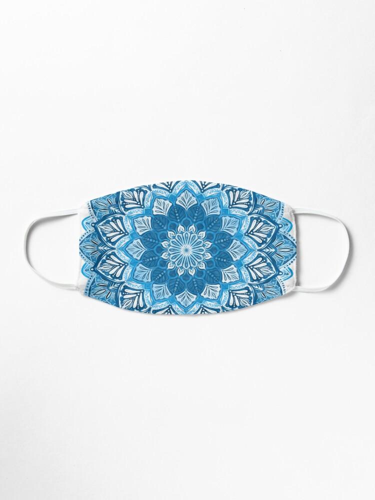 Boho Mandala in Monochrome Blue and White Face Mask