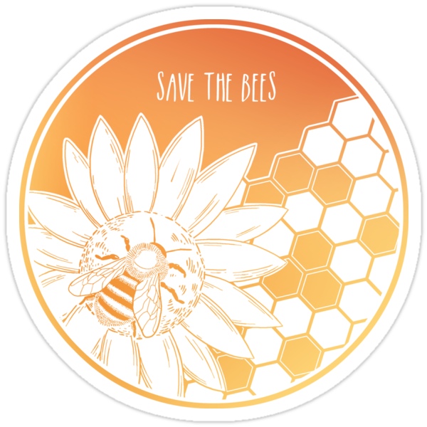 Quot Save The Bees Quot Stickers By Hannah Diaz Redbubble