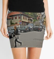 A streetscape Mini Skirt
