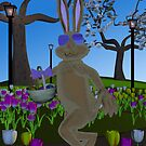 Easter Rabbit Among Tulips by SeaSerpent