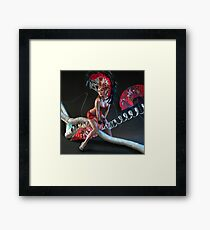 Las Vegas Dancer posing at futuristic background on club stage Framed Print