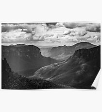 Blue Mountains B/W Landscape Poster
