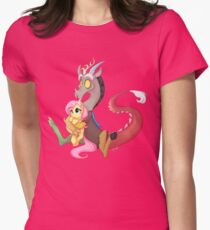 Discord and Fluttershy Cuddles Womens Fitted T-Shirt