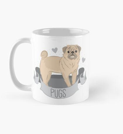 PUGS cute pug dog in a banner Mug