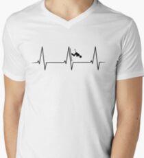Skiing Downhill heartbeat Men's V-Neck T-Shirt