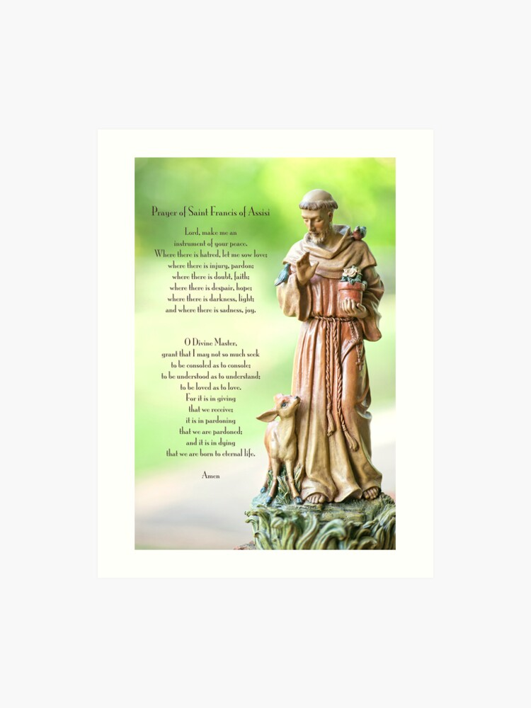 photo regarding St Francis Prayer Printable known as Prayer of St. Francis of Assisi Artwork Print