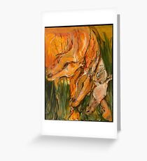 Orange Horse Heads Repeat Greeting Card