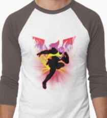 Super Smash Bros. Red Captain Falcon Sihouette Men's Baseball ¾ T-Shirt