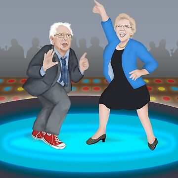 Disco Night with Bernie Sanders and Elizabeth Warren Color Version by Fullfrogmoon