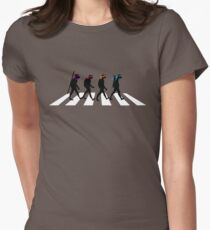 Turtle Road (Black and White) Womens Fitted T-Shirt
