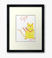 Yellow Cat Playing Flute Framed Print